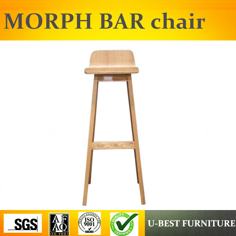 Free Shipping U-BEST Commercial Solid Wood Bar Stool Wholesale Wooden Bar Stool Chair,morph Wooden Bar Chair