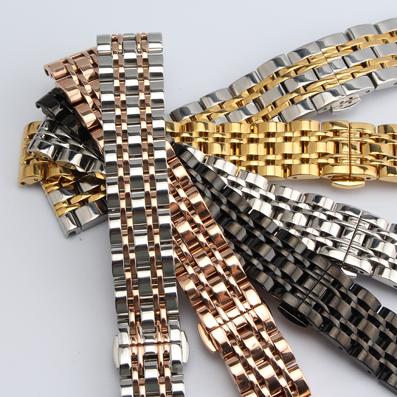 Stainless bracelet steel solid metal watchband Butterfly buckle watch strap14 16 18 20 22mm wristwatches band