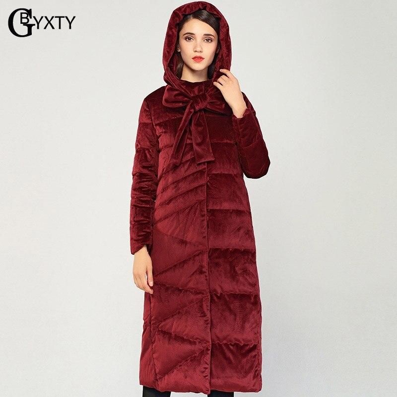 GBYXTY manteau hiver женское элегантное бархатное пуховое пальто с воротником галстуком зимнее женское длинное толстое пуховое пальто с капюшоном н