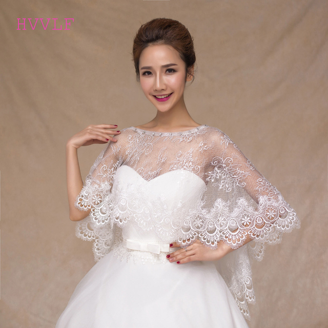 Elegant Boat Neck Wedding Bolero Lace Appliques Women Cape Beaded