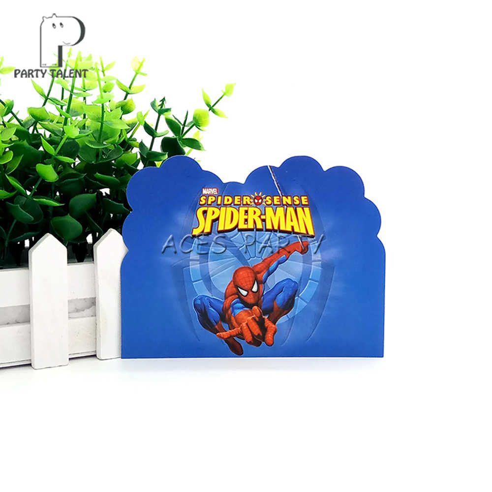 Party Supplies 8pcs Hero Spiderman Theme Invitation Card Invitations For Kids Birthday Decoration