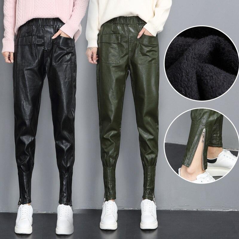 Thin Plus Mujer Elástica De plus Streetwear Harem Gótico Pies Mujeres Pantalones Zanahoria Green Cuero thin Pu Pie Black Tamaño Velvet Las Cintura 7wAStaxS