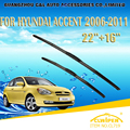"Escovas Para HYUNDAI ACCENT (2006-2011) 2007 2008 2009 2010 Car Windscreen Windshield Wiper Blade Wiper 16 ""+ 22"" Carros estilo"