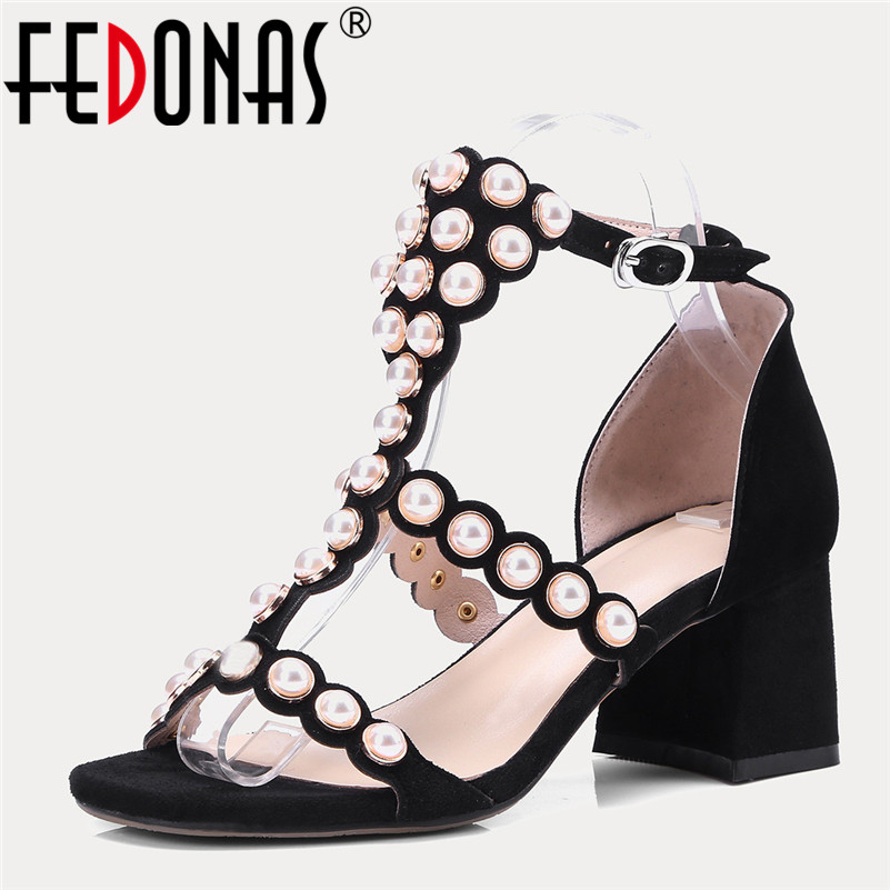FEDONAS Brand 2018 New Women Sandals Bohemian Summer Women Suede High Heeled Shoes Woman Ladies Party Shoes Female Sandals