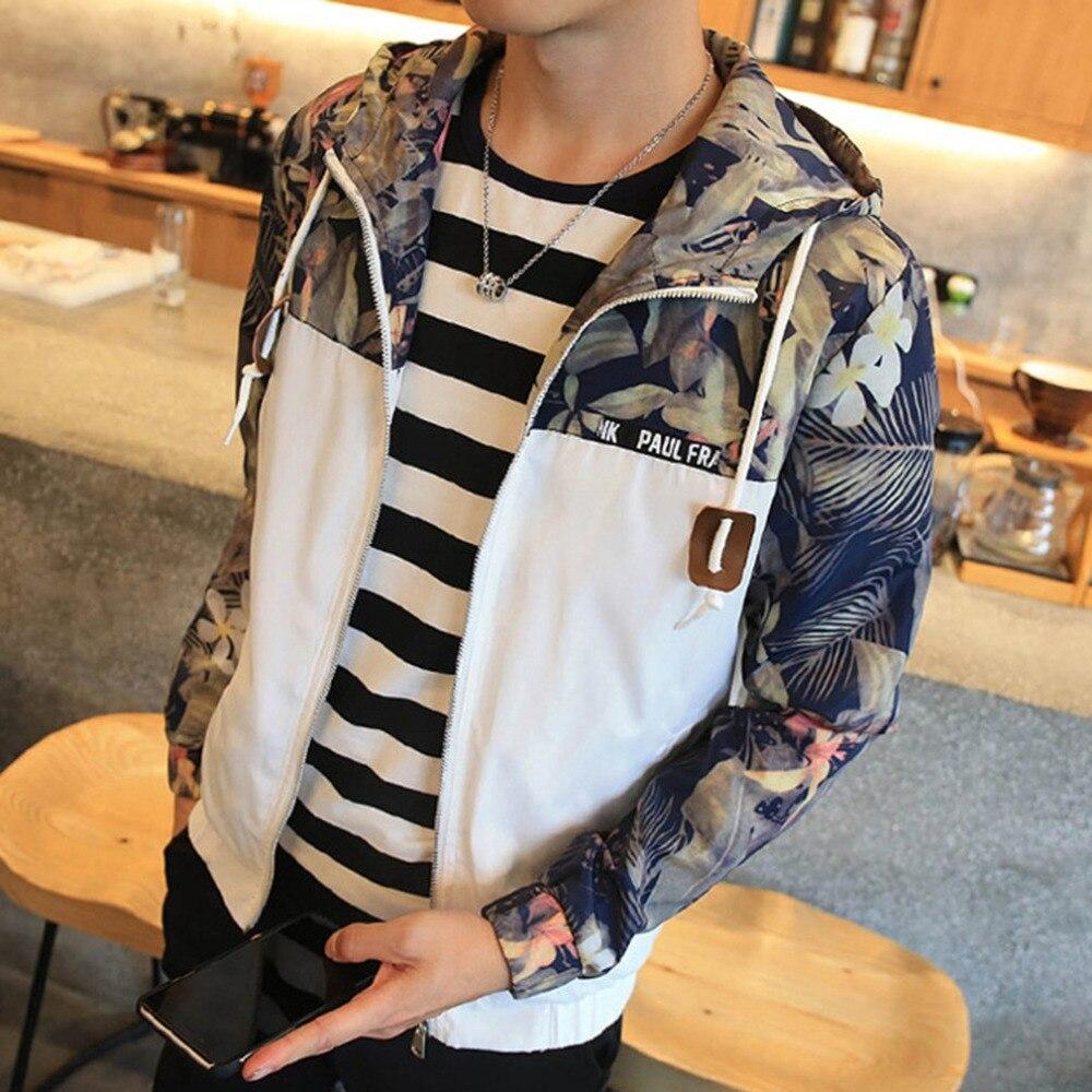 Новая мода Демисезонный Повседневное Курточка Бомбер с капюшоном тонкое пальто хип-хоп Цветочный принт куртка ветровка куртка на молнии ...