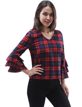 2017 New plaid blouses shirt red female 3/4 sleeve casual slim women ruffles hollow plus size shirt office lady backless tops