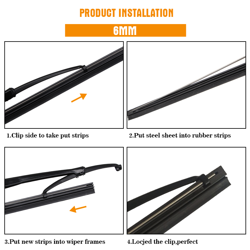 "1PCS Windshield Windscreen 8MM 6MM 14""16""17""18""19""20""21""22""24""26""28"" Car Wiper Blade Replacement Insert Refill Rubber Strip 5"