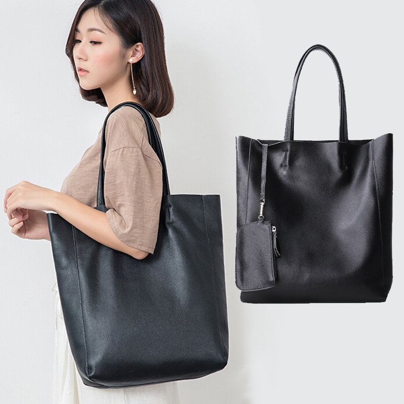 Genuine Leather Bag Women Casual Tote Female Luxury Simple Fashion Handbag Lady Cowhide Leather Daily Use