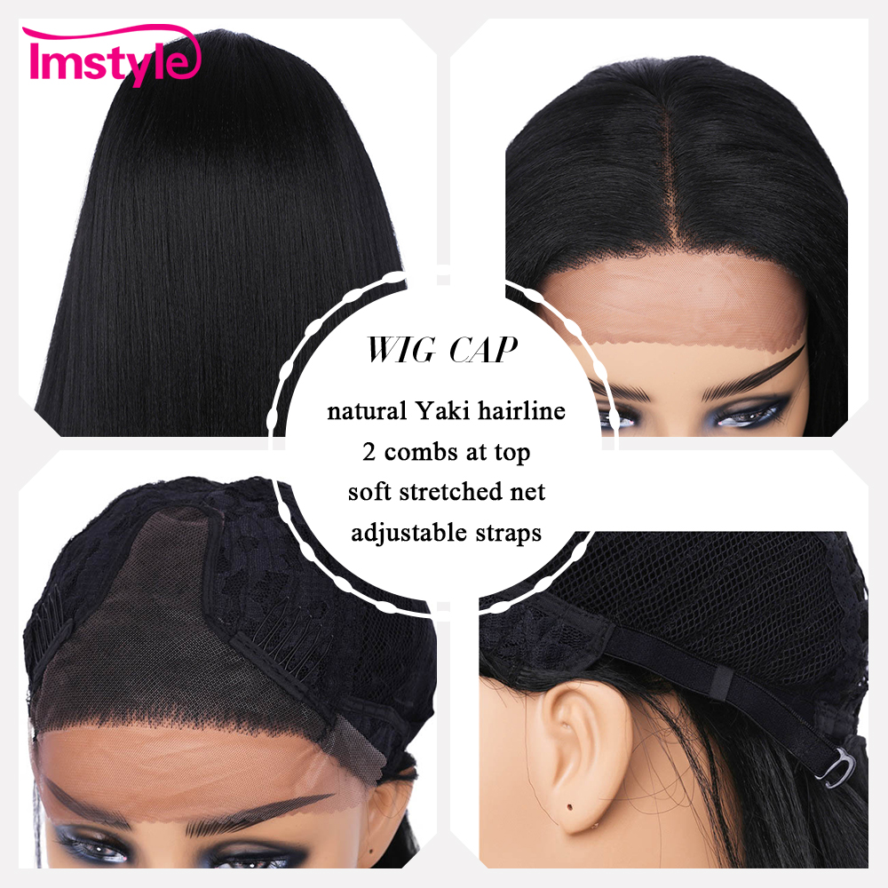 Imstyle Straight Long Black Synthetic Lace Front Wigs Yaki Hair For Women Middle Part Heat Resistant Fiber Natural Hair 1B Color
