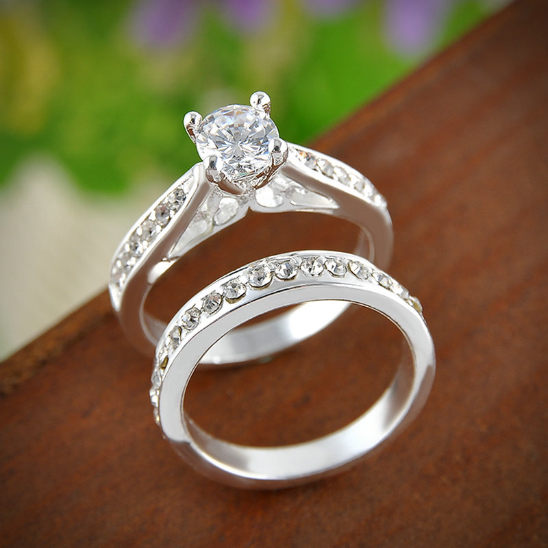 2pcs Set Charm Ring Bijoux Femme Fashion Jewelry Silver Crystal Engagement Wedding Rings For Women Men Anel In From