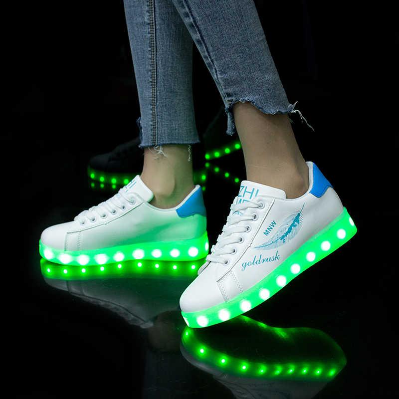 Size35-42 ที่มีสีสันชาร์จ Usb รองเท้าไฟรองเท้าผ้าใบส่องสว่าง LED รองเท้าแตะ Light Up Led รองเท้าเด็กเรืองแสงรองเท้าผ้าใบ