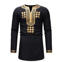 5ab4f6efd28 Classic V Neck Longline T Shirt Men 2018 Fashion African Dashiki Print T-shirt  Men Hip Hop Streetwear Tops Tees African Clothes