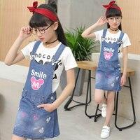 Kids Clothes Girls Denim Dresses Fashion Summer Children Clothing Set Girl Boutiqu Girls Clothing Sets Cartoon Tshirt Skirt Kids