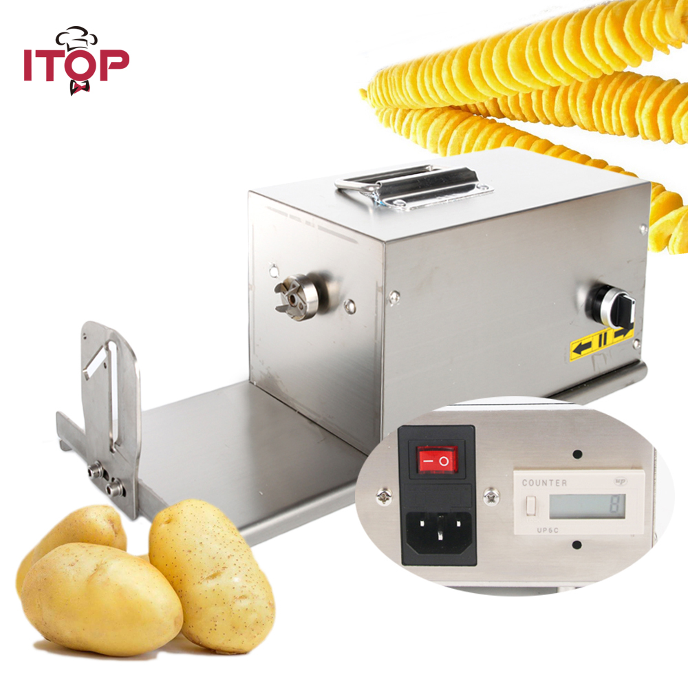 ITOP 3in1 Commercial Electric Tornado Potato Slicer Twisted Vegetable Potato Spiral Cutter French Fries Cutters 110V 220V Бороскопы