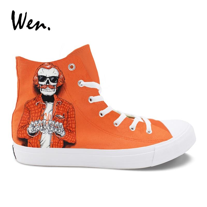 Модные парусиновые кроссовки Wen, мужские кроссовки с принтом в виде скелета, ручной работы, с высоким берцем, на шнурках, Espadrilles, на плоской по...