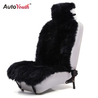 AUTOYOUTH Premium Long Wool Luxury Car Seat Cover Universal Fit Most Cars SUV Truck Gray Car Seat Cushions 1 Pcs fur seat cover