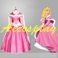Sleeping Beauty Princess Aurora Pink Satin Cape Faux Rabbit Fur Cosplay Cloak Only Halloween Costumes for Women High Quality