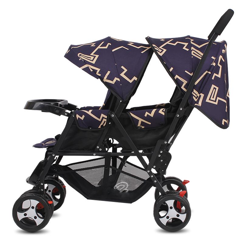 2017 New baby stroller for twins Lightly folded baby carriage Seat can be lying double carts stroller for kids lightweight 9 6kg twins stroller suit for 2 kids folded twins carriage with adjust seat purple twins stroller can sit can lie