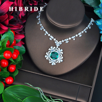 HIBRIDE Luxury Brilliant Square Green Stone Pendant Fot Women Sweater Jewelry White Gold Color Necklace N 710