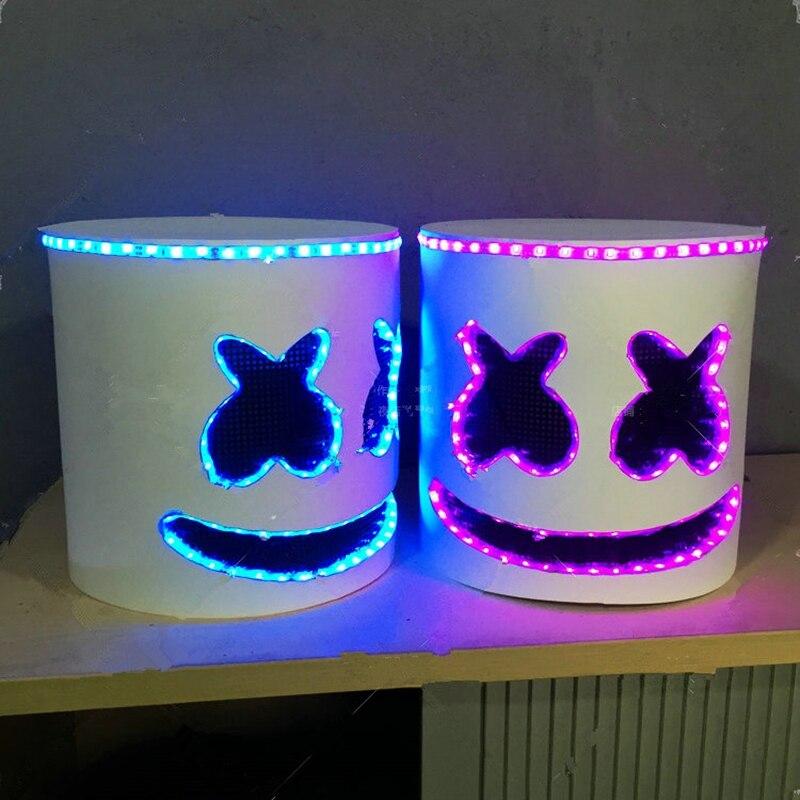 Marshmello DJ Full Head Mask Tiesto Helmet LED Luminous Bar Music Cosplay Props