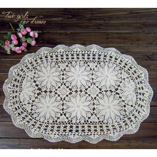 DIY Handmade Crochet Lace Tablecloth Home Oval Tea Table Mats Wedding Party Decorative Table Cover Placmat Table Runner 60-110CM