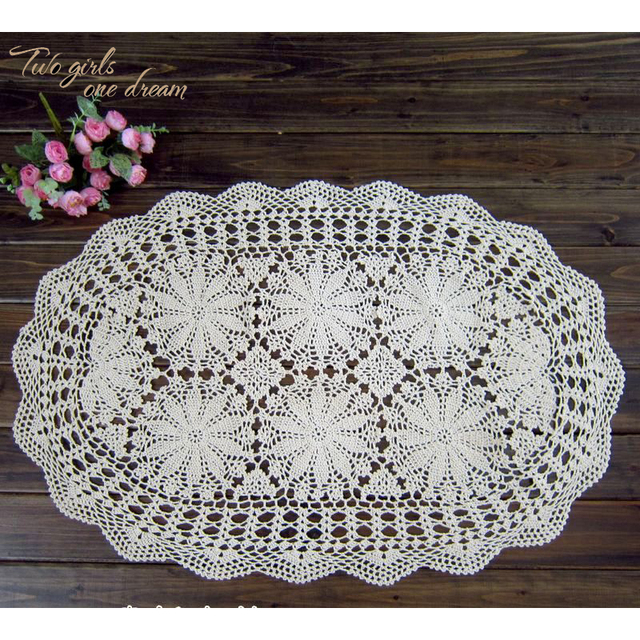 DIY Handmade Crochet Lace Tablecloth Home Oval Tea Table Mats Wedding Party  Decorative Table Cover Placmat