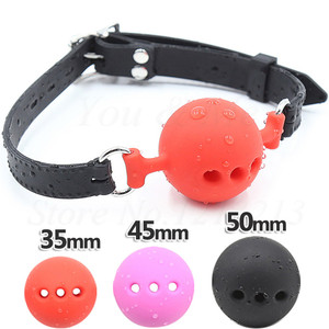 Image 1 - 3 Size Soft Silicone Open Mouth Gag Ball BDSM Bondage Restraints Sex Toy For Adults Slave Open Hole Ventilation Gag For Couples