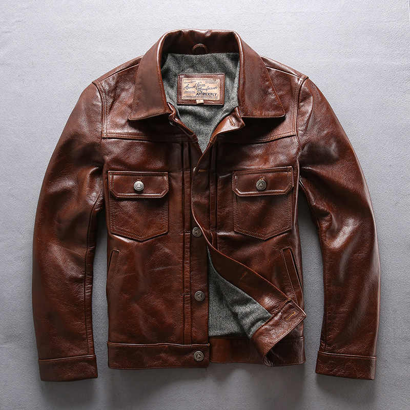 Factory 2018 New Men Brown Cow Leather Jacket Real Cowhide Casual Single Breasted Slim fit Jackets Winter Russia Coats