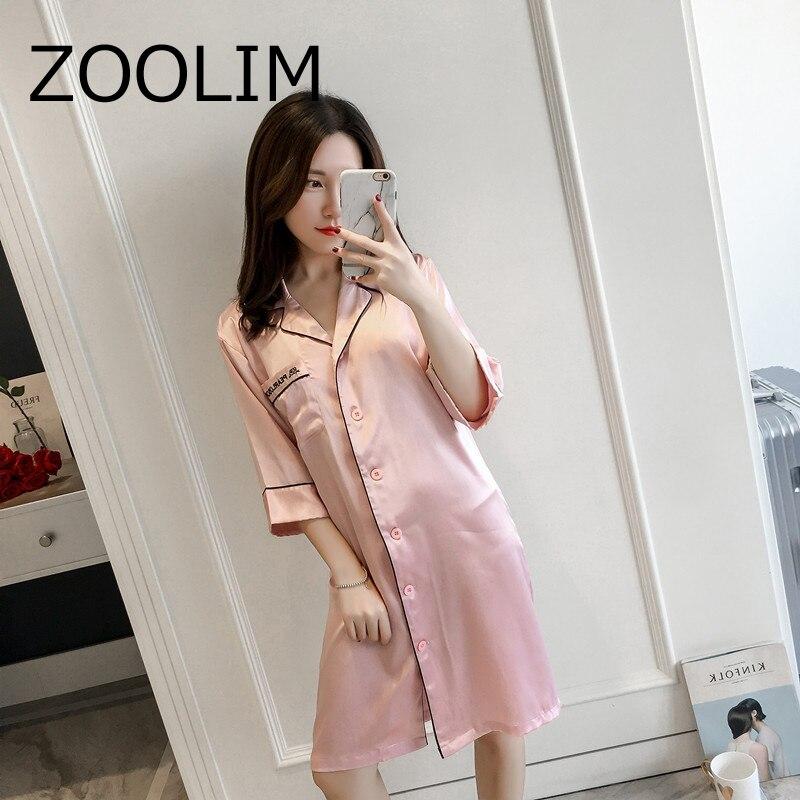 Women   Nightgowns   Satin Sleepwear Nightshirts Half Sleeve Silk Night Shirts Loose Night Dress Summer Nightdress   Sleepshirts