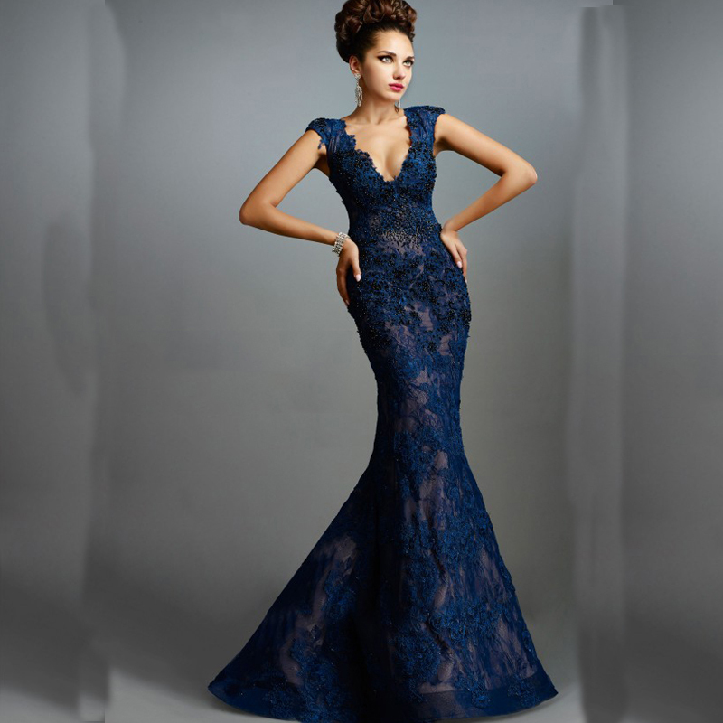 Blue lace evening dresses