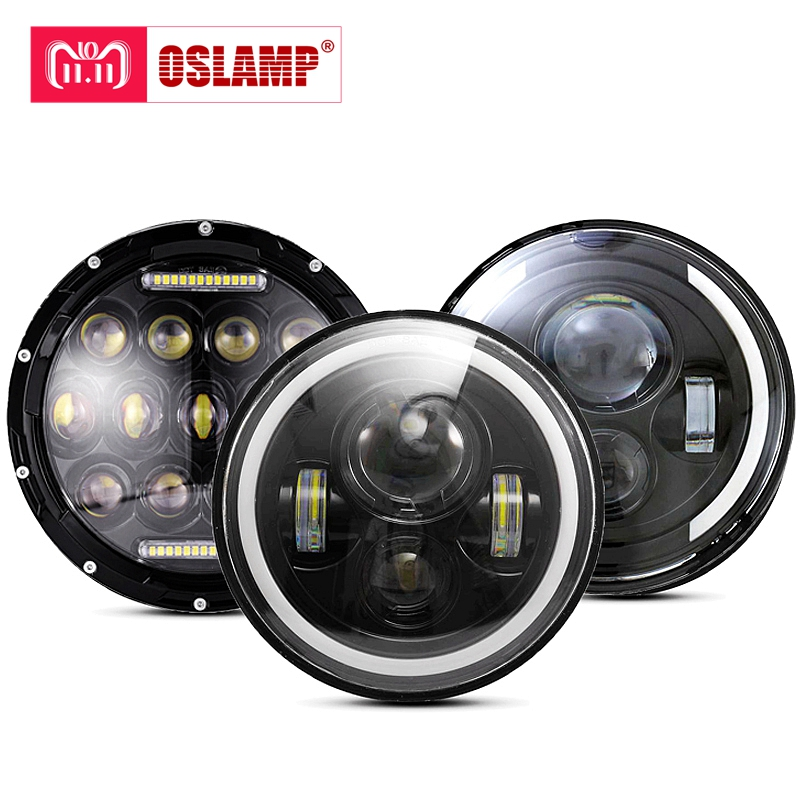 цена на Oslamp 30W 7inch Round Led Headlight High Low Beam Light Halo Angle Eyes DRL Headlamp For Jeep Wrangler Off Road 4x4 Motorcycle
