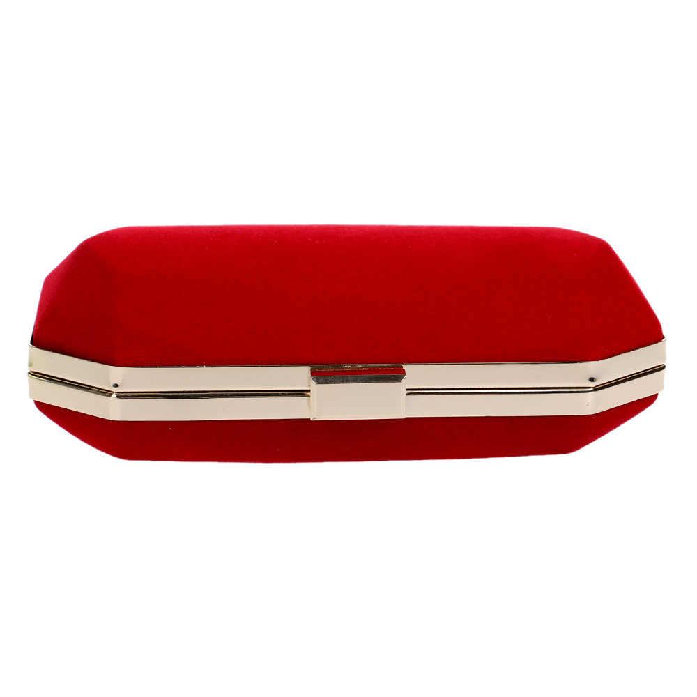 Beludru Malam Tas Merah/Hitam/Biru Chain Bahu Dompet Hari Clutch Kotak Casing untuk Pesta Pernikahan Perjamuan tas Berkualitas Tinggi