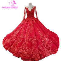 2018 Red Lace Vintage Wedding Dresses V Neck Cathedral Train Wedding Gowns Ball Gown Vestidos De