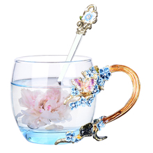 High quality Creative Blue Crystal Carve patterns Enamel Gift box Glass Cup Heat resistant Household Drinking Ware wedding gift
