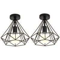 2 Pcs Decke Licht Industrie Käfig Form Diamant Schwarz Kronleuchter Suspension Metall Eisen Leuchte Für Küche Korridor-in Pendelleuchten aus Licht & Beleuchtung bei