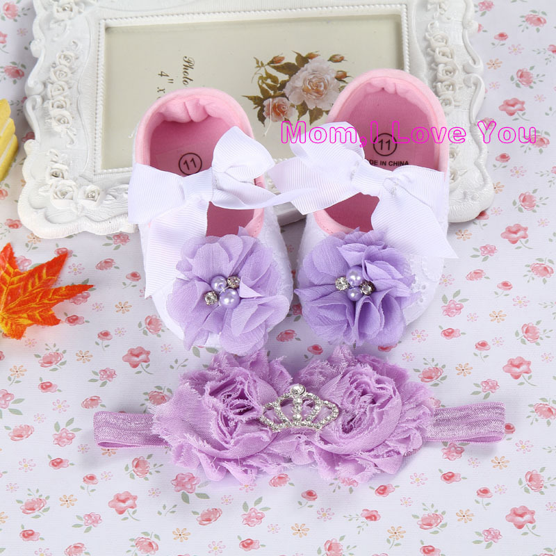 Christening shoes for baby girl,new girl infant tiara baby shoe,baby booties,headband set toddler baby shoes