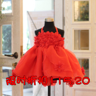 Child princess female red formal spaghetti strap wedding one piece dress