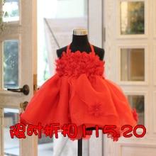 Ребенка принцесса красный формальные спагетти ремень свадебное цельный платье