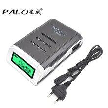 PALO C905W 4 Yuvaları lcd ekran Akıllı Akıllı li ion pil şarj cihazı AA/AAA NiCd NiMh Şarj Edilebilir Piller AB/ABD fiş
