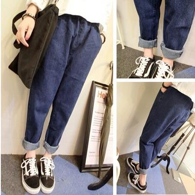 2016 New Fashion Korean Style Women's Jeans Loose Casual Dark Blue Elastic Waist Jeans Pants Boyfriend Harem Jeans Plus Size 2017 new korean casual cat embroidery loose jeans pants