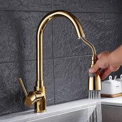 Neu Angekommene Pull Out Kitchen Wasserhahn Gold/Chrom/nickel/schwarz Waschbecken Mischbatterie 360 grad drehung küche mischbatterien Küche Tap