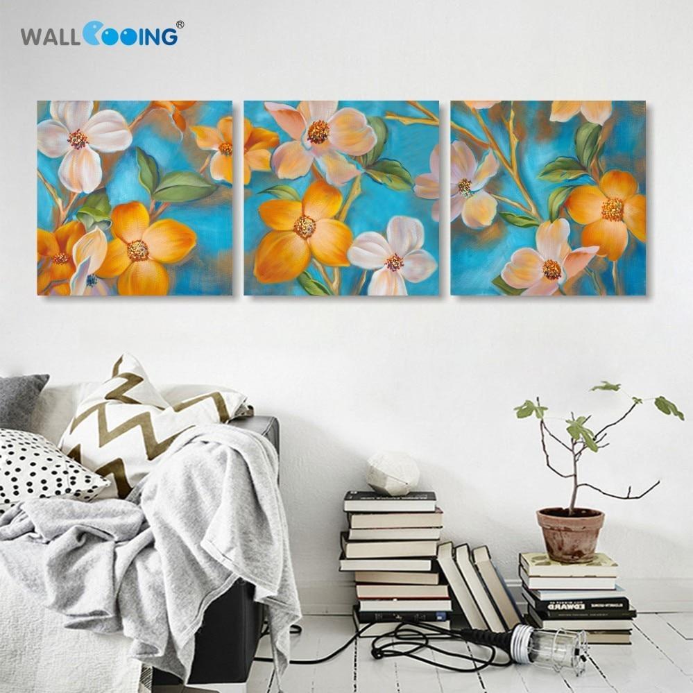 3 τεμάχια / σετ καμβά Μοντέρνα λουλούδια ελαιογραφία εικόνες coloridas Modular Pictures cuadros spray painting wall Art Home Decor