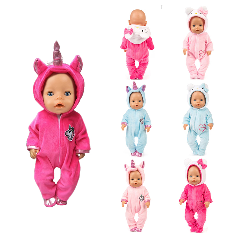 Fit 18 Inch 43cm Doll Clothes Born Baby Unicorn Kitten And Pony Doll Clothes Suit For Baby Birthday Festival Gift