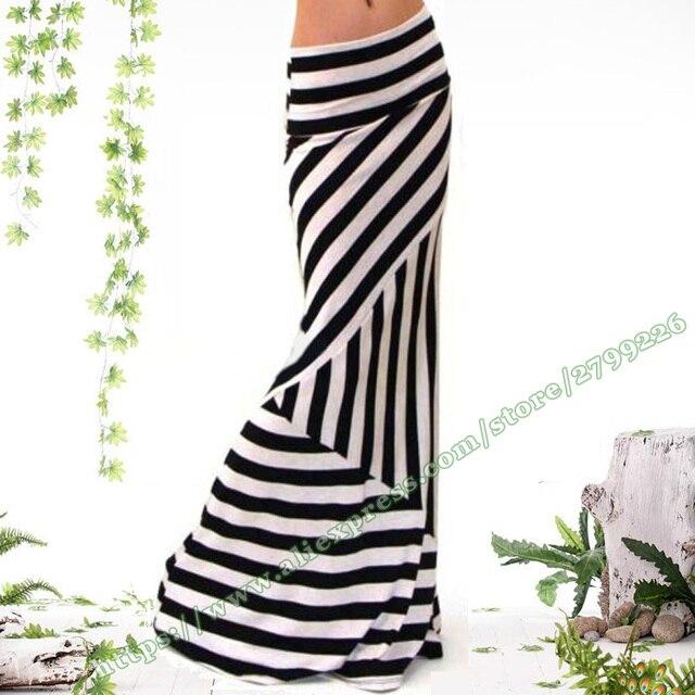 a98f22cc1 € 15.75 |Aliexpress.com: Comprar Verano talla grande XXXL ropa moda negro y  blanco rayas estiramiento Sexy sirena cola femenina Maxi Faldas largas ...