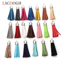 lacoogh 20pcs/lot 55mm/30mm Faux Suede Tassel Pendants Charms Leather Tassels for Keychain Cellphone Straps DIY Earrings Making