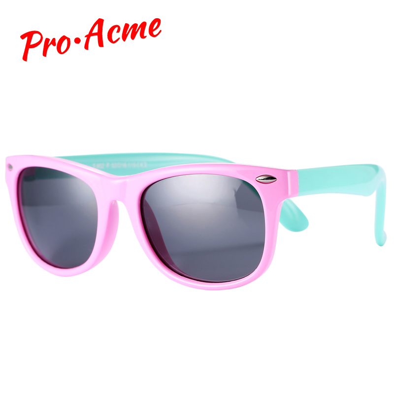 Pro Acme TR90 Flexível Crianças Óculos De Sol Polarizada Criança Bebê Segurança Revestimento Quadrado Shades Infantis Óculos de Sol UV400 Óculos CC0606