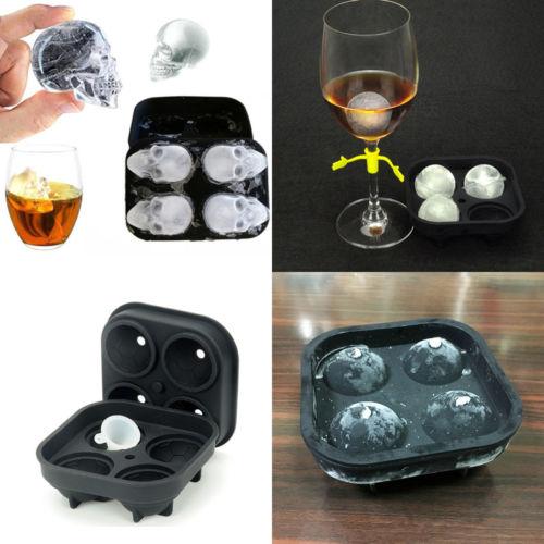 Whiskey Silicon Ice Cube Ball Maker Mold Mould Skull Brick Halloween Bar Tray