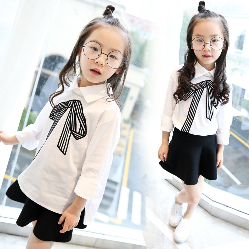 Spring Girls Embroidered Hot Children All-match Korean College Wind Shirt Kids Clothing White