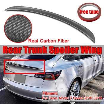 100% Real Carbon Fiber Auto Hinten Stamm Spoiler Flügel Lippe Für Tesla Modell 3 Limousine 2016 2017 2018 T Stil hinten Boot Flügel Spoiler