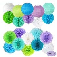 をぶら下げ装飾セットハニカムボール提灯紙の花ファンポンポン(緑+薄紫+ブルー+ホワイト)用ウェディングパーティー